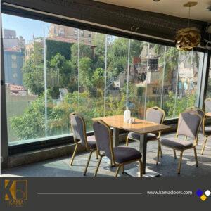 شیشه-بالکنی-تاشو رستوران